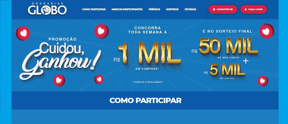 Cadastrar Promoção Globo Drogarias Cuidou Ganhou 2020 2021 - 50 Mil Reais e Prêmios