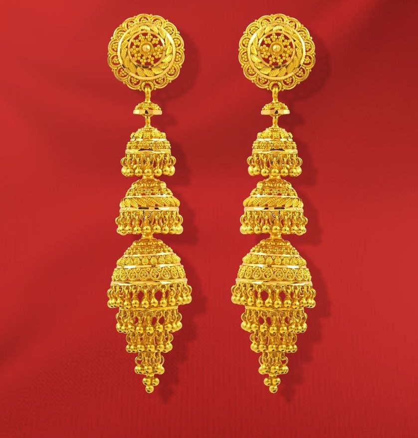 55 Beautiful Gold Jhumka Earring Designs Tips On Jhumka