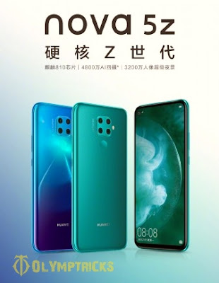 """Official photos of """"Huawei nova 5z"""" appear with it's specifications"""