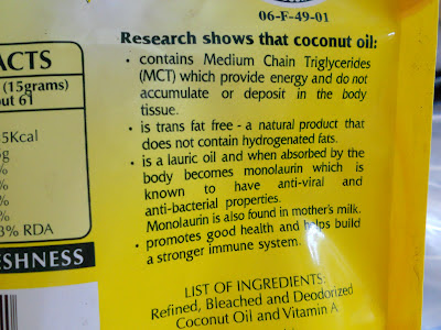 text at the back side of minola cooking oil