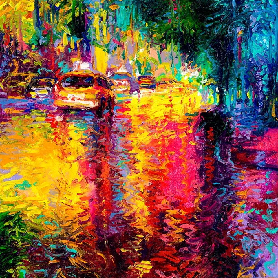 11-Taxi-Jungle-Iris-Scott-Finger-Painting-to-add-a-lot-of-Texture-to-Urban-Scenes
