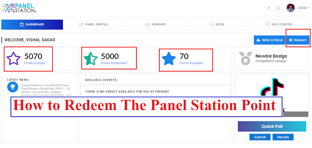 How to redeem the panel station points to Paytm wallet, Amazon and Flipkart Gift Card