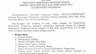Surat edaran Bupati Tangerang, Penutupan sementara tempat Wisata