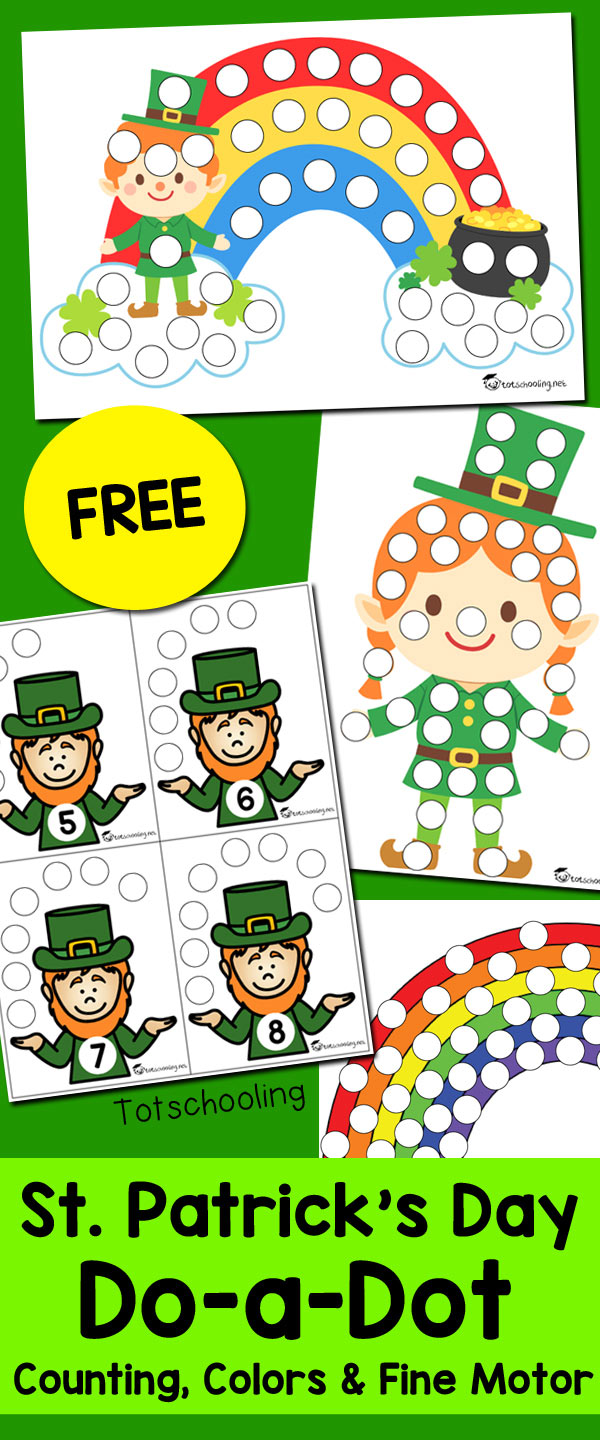 St. Patrick\'s Day Do-a-Dot Sheets | Totschooling - Toddler ...