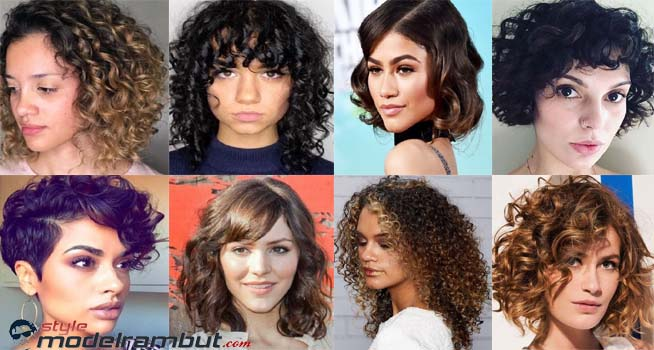 model potongan rambut keriting mengembang