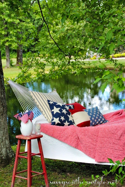 red,white and blue hammock