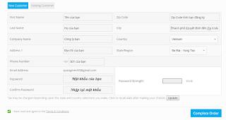 Điền đầy đủ thông tin và chấp nhận điều khoản bấm Complete Order.