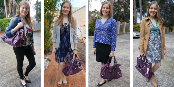 4 ways to wear a purple Balenciaga work bag with printed outfits | away from the blue
