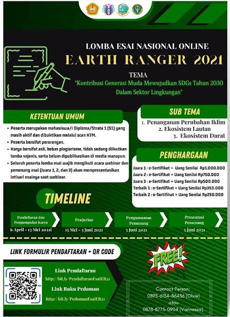 LOMBA ESAI NASIONAL ONLINE EARTH RANGER BEM UNIVERSITAS SANATA DHARMA 2021