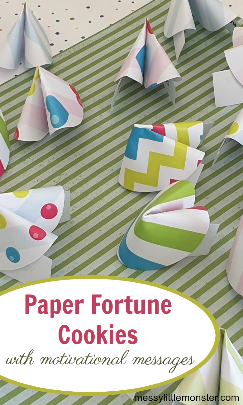 Paper fortune cookies for kids. A fun and easy Chinese New Year craft for kids. Printable motivational messages included.