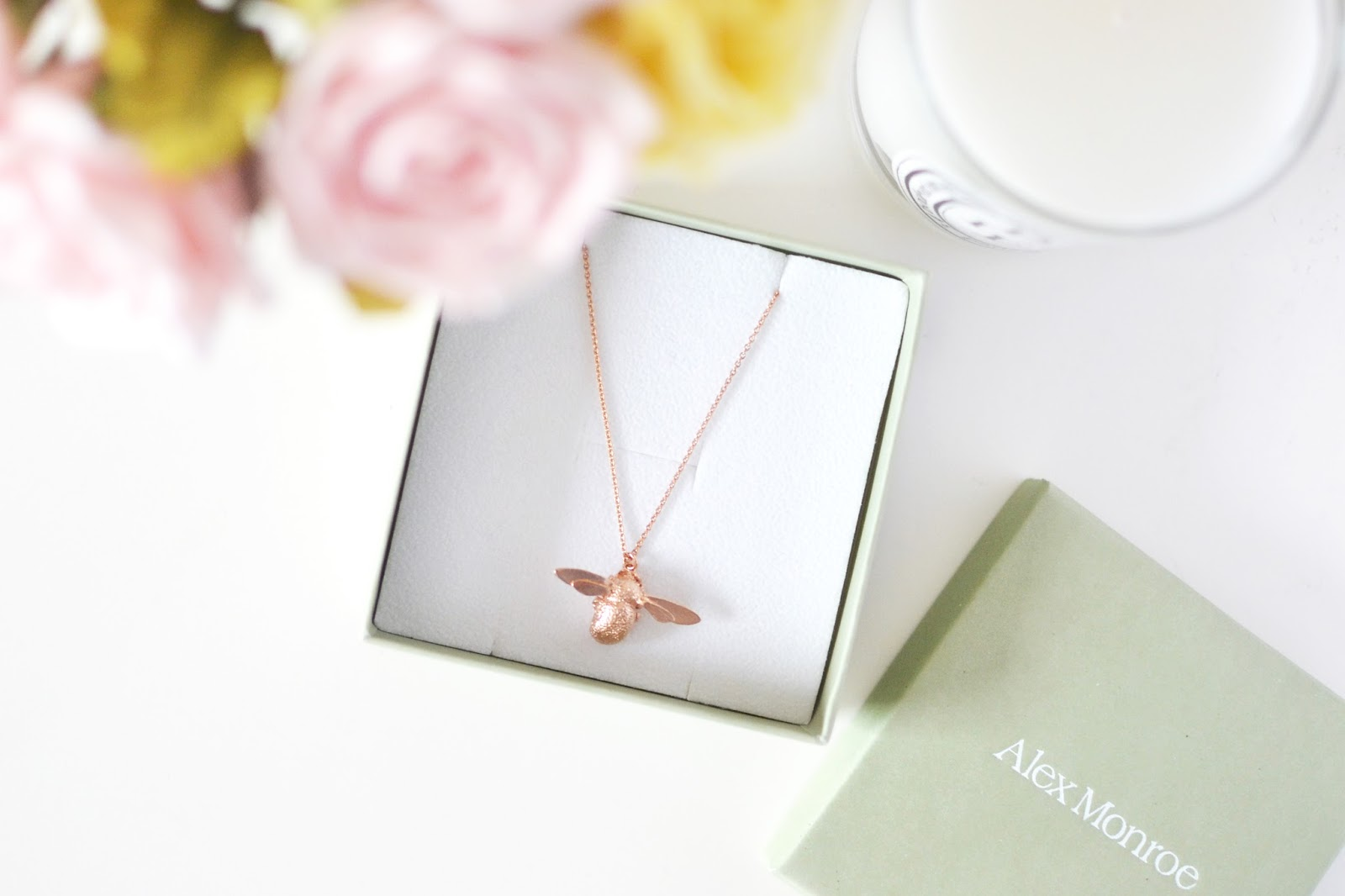 Alex Monroe bumble bee necklace, alex monroe rose gold necklace