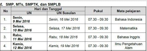 Jadwal Ujian Nasional ( UN ) SMP/MTs/SMPLB Tahun Pelajaran 2015/2016