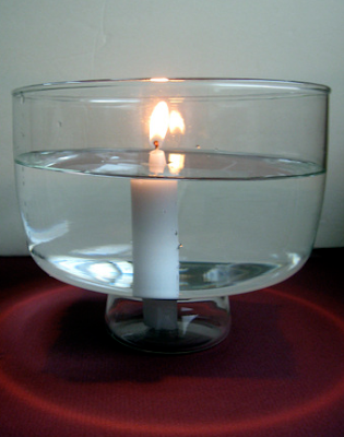 Burning Candle Underwater