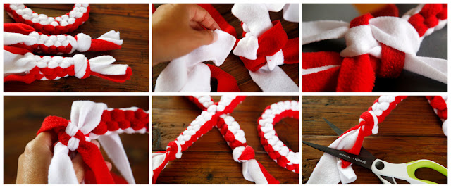 Step-by-step how to make an X (kiss) Valentine dog tug toy