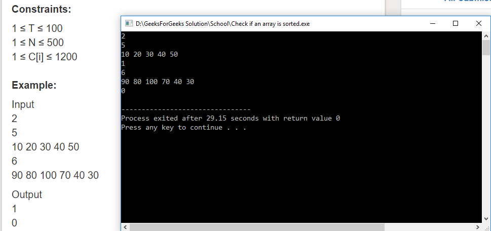 """Geeksforgeeks Solution For """" Check if an array is sorted """""""