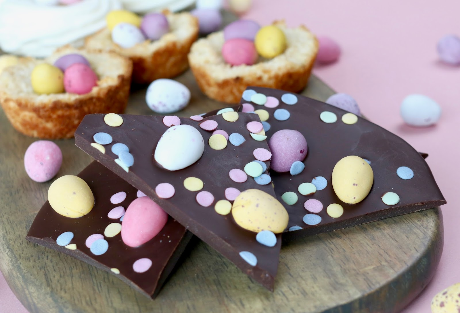 Easter treats coconut macaroons chocolate bark with mini eggs