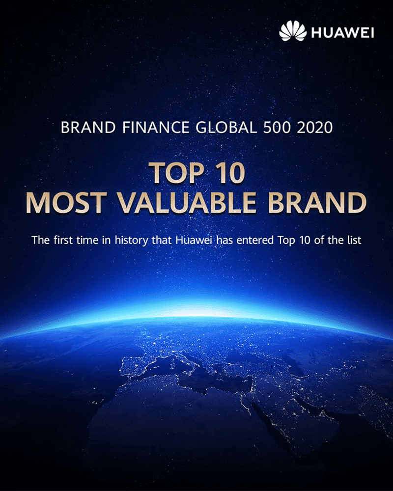 Huawei joins the Brand Finance's top 10 most valuable brands for the first time