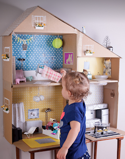 Dollhouse made of a cardboard