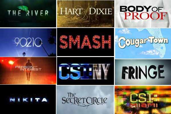 Logos from The River, Hart of Dixie, Body of Proof, 90210, Smash, Cougar Town, Person of Interest, CSI NY, Fringe, Nikita, The Secret Circle, CSI Miami