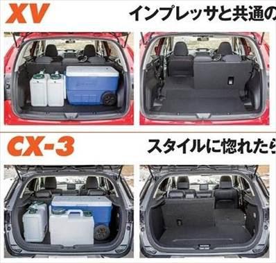 新型XV CX-3 荷室ラゲッジスペースの大きさ 写真比較