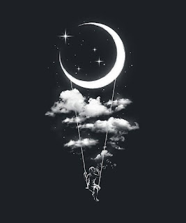 خلفيات القمر مع فتاة