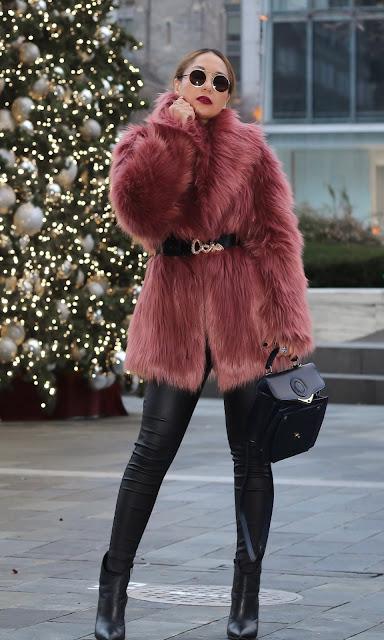 faux fur coat with faux fur leather pants
