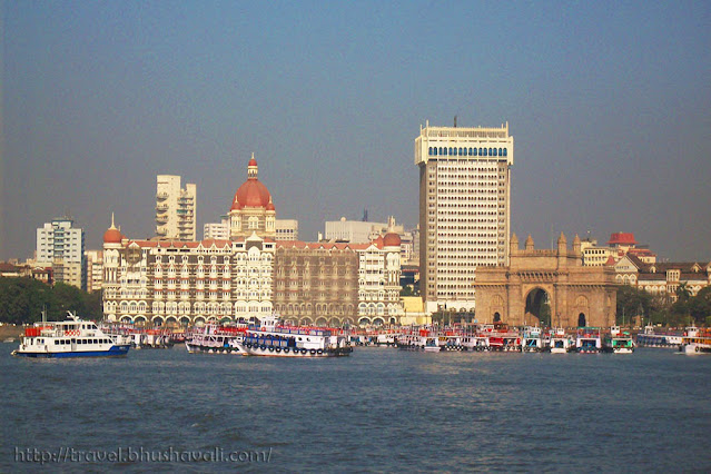 View of Gateway of India & Taj Mahal Palace hotel from sea