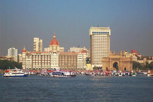 View of Gateway of India & Taj Mahal Palace hotel from sea