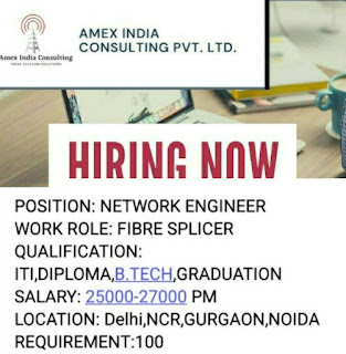 Telecom Industry Recruitment ITI, Diploma and Graduates Candidates For Network Engineer Position in Delhi NCR, Gurgaon, Noida Locations