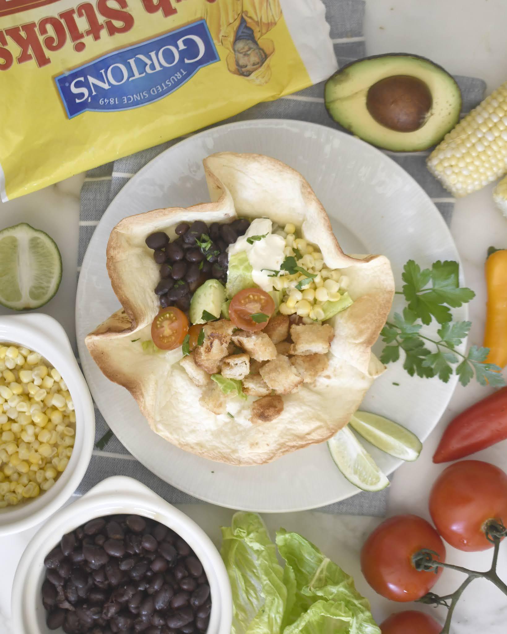 Fish Taco Salad with Homemade Tortilla Bowl
