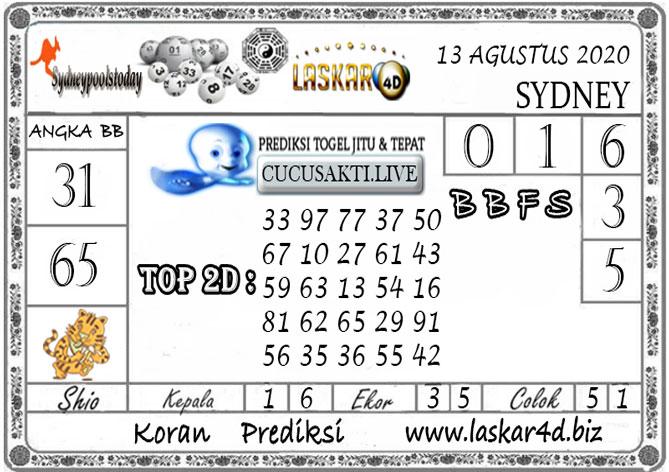 Prediksi Togel SYDNEY LASKAR4D 13 AGUSTUS 2020