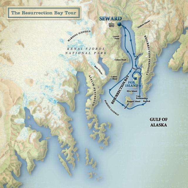 Resurrection Bay Alaska Map.Jules Gems Resurrection Bay Cruise