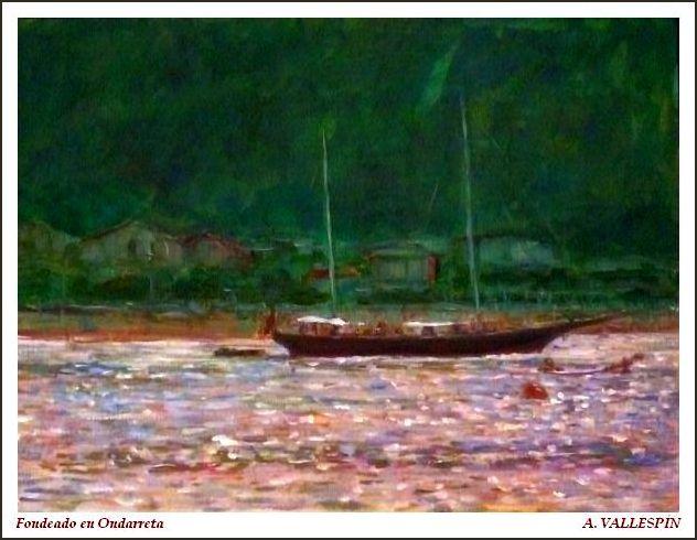 Pintura al óleo de un velero fondeado frente a Ondarreta