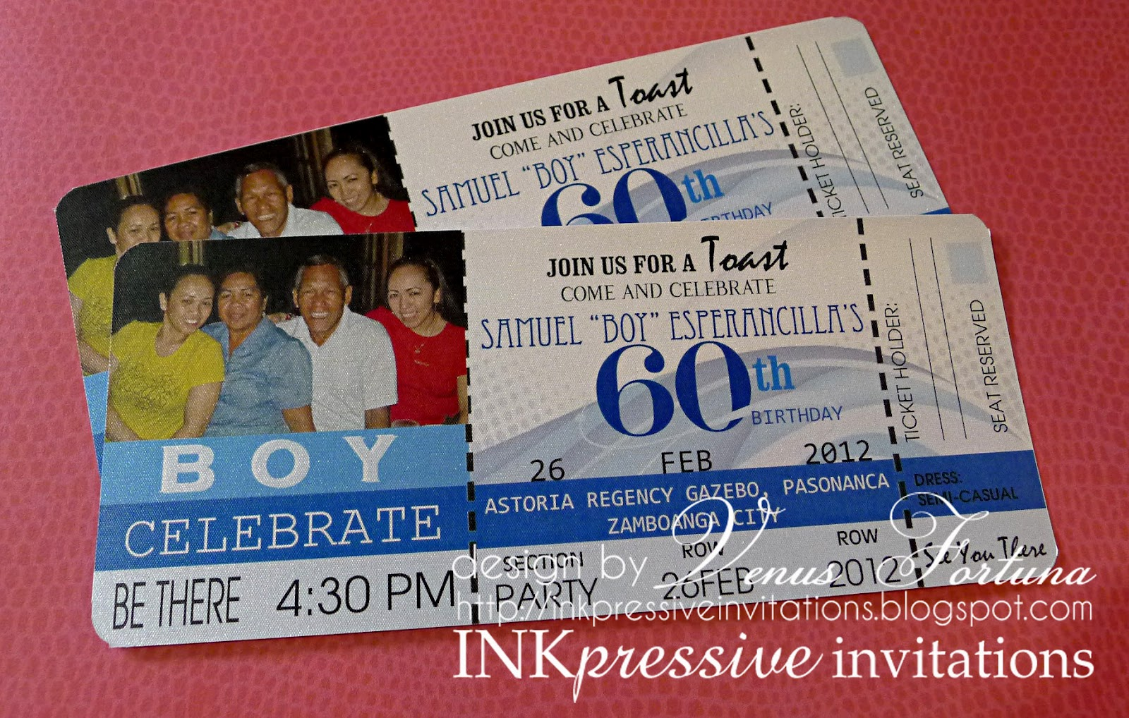 Ticket Invitation 60th Birthday Inkpressive Invitations