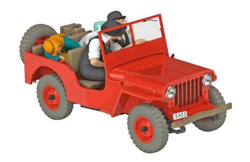 la jeep rouge 1:24 tintin au pays de l'or noir, les voitures de tintín 1/24e, Les voitures de Tintín 1/24 hachette, tintin collection voitures 1/24, tintin collection voitures 1/24 hachette, collection tintin voitures miniatures, tintin collection voitures hachette