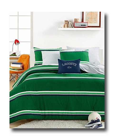 Fancy A well decorated dorm room is a must Start with coordinated bedding from Lacoste The College Collection Green Stripe Comforter Set includes a forter