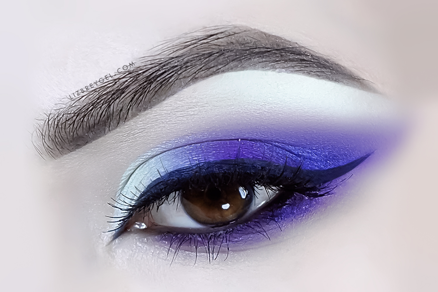 a close up picture of eye with dark and smoky makeup look