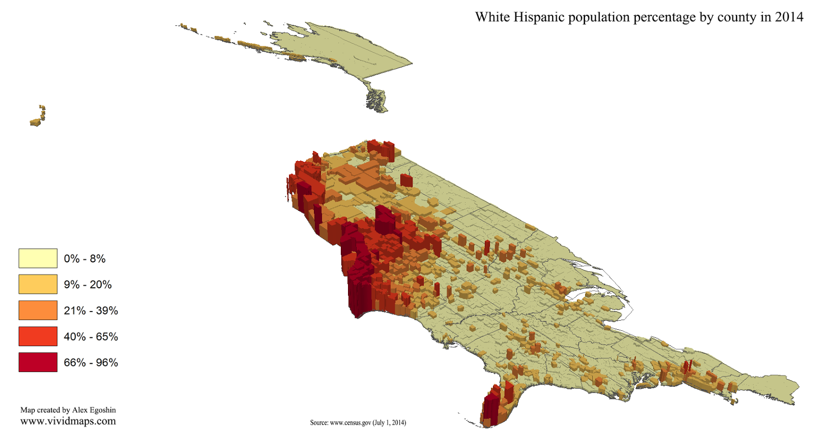 White Hispanic population percentage by county