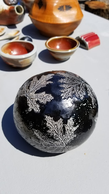 Beautiful leaf imprint soda fired pottery piece by Lily L.