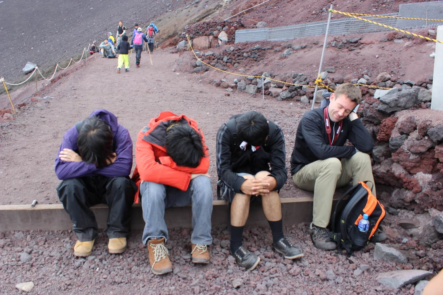 tired group from climbing mt fuji