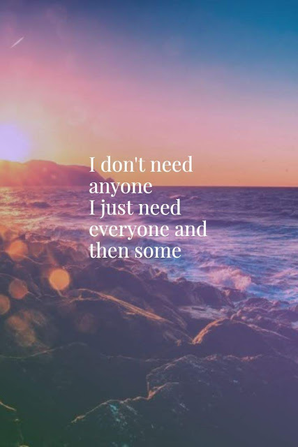 I don't need anyone I just need everyone and then some
