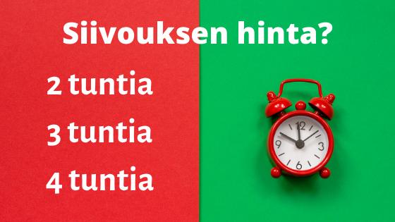 Kotisiivouksen hinta Tampere - tunneittain