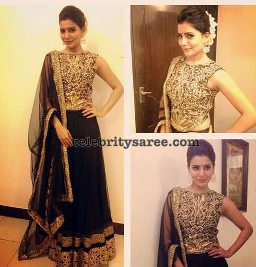 Samantha Black Lehenga at Katithi Audio