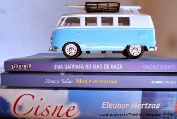 Kombi, miniatura, livros azuis