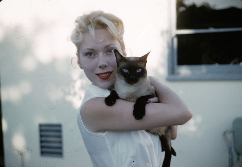 45 Lovely Vintage Snaps of Young Women Hugging Their Cats