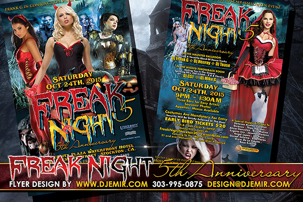 Freak Night 5 Annual Halloween Party Flyer Design