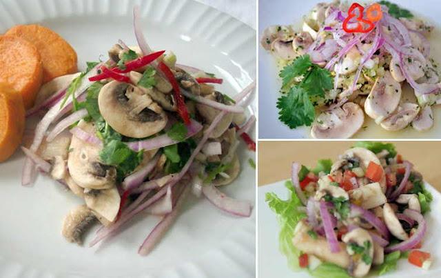 receta de cebiche de champiñones peruano