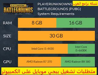 متطلبات تشغيل ببجي موبايل على الكمبيوتر