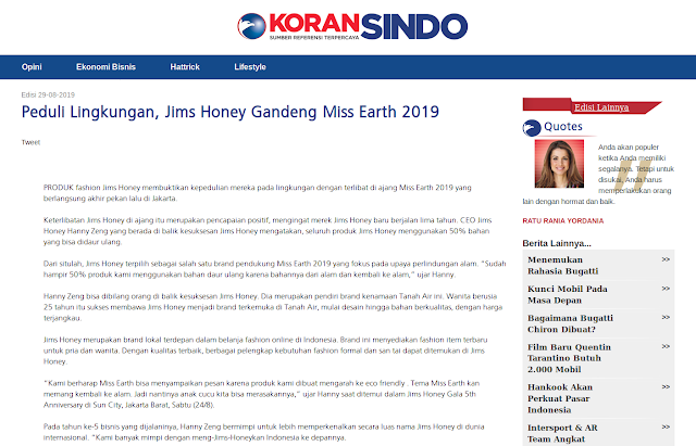 Peduli Lingkungan, Jims Honey Gandeng Miss Earth 2019