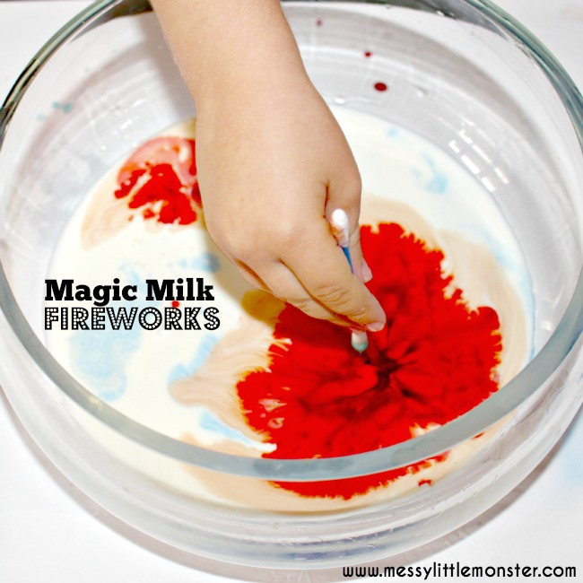 magic milk fireworks - summer camp ideas